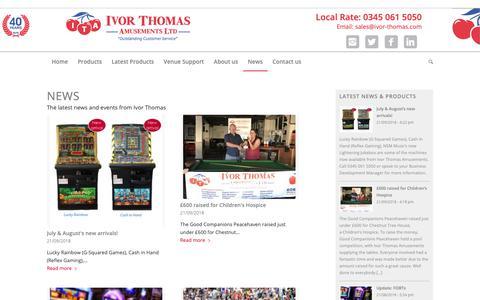 Screenshot of Press Page ivor-thomas.com - News - Ivor Thomas Amusements - captured Oct. 13, 2018
