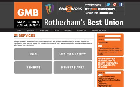 Screenshot of Services Page gmb-rotherham.org - Services and Benefits of Joining our Union Rotherham - captured May 5, 2016