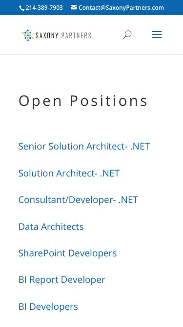 Screenshot of Jobs Page  saxonypartners.com - Positions   Saxony Partners