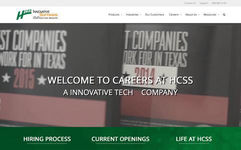 Screenshot of Jobs Page hcss.com - Careers at HCSS | Construction Software Jobs - captured Sept. 23, 2015