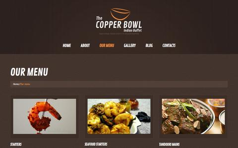 Screenshot of Services Page thecopperbowl.co.uk - Our menu  |  The Copper Bowl - captured Jan. 12, 2016
