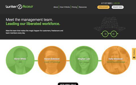 Screenshot of Team Page writeraccess.com - Team - WriterAccess - captured Jan. 4, 2020