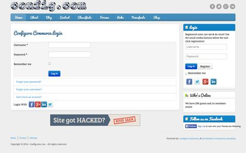 Screenshot of Login Page config.com - Configure Commerce Login - captured Sept. 25, 2014