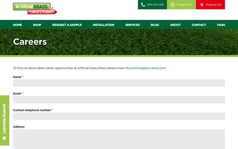 Screenshot of Jobs Page artificialgrass-direct.com - Careers - Vacancies at Artificial Grass Direct - captured Oct. 8, 2017