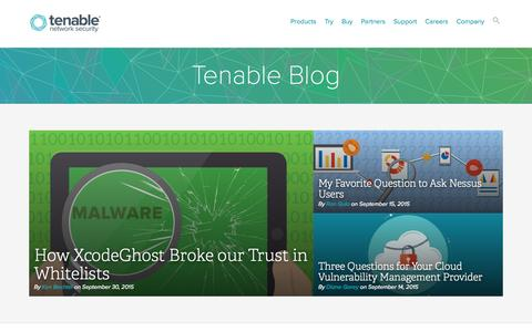 Screenshot of Blog tenable.com - Tenable Blog | Tenable Network Security - captured Oct. 2, 2015