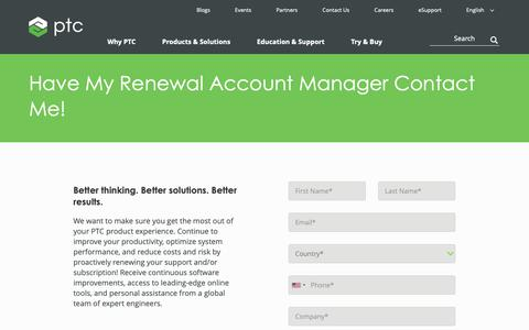 Screenshot of Support Page ptc.com - Have My Renewal Account Manager Contact Me About Subscription! | PTC - captured Nov. 13, 2018