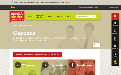 Screenshot of Jobs Page peopleschoicecu.com.au - Careers | People's Choice Credit Union - captured Oct. 31, 2016