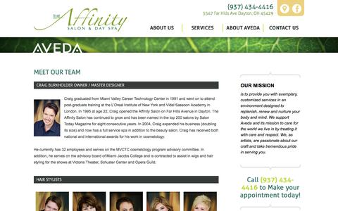Screenshot of About Page affinitysalonspa.com - Meet our Team - AffinitySalon - captured Sept. 24, 2018