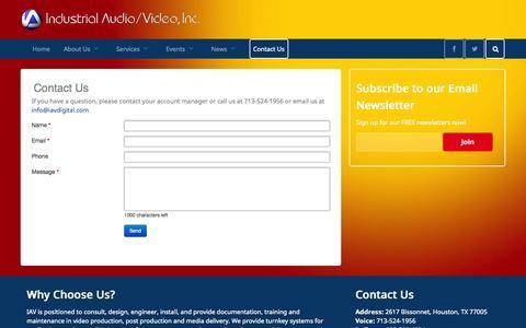 Screenshot of Contact Page iavdigital.com - Contact Us - captured Oct. 6, 2014