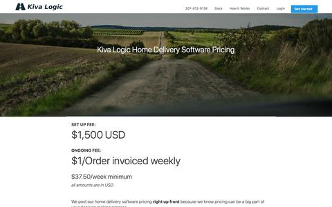 Screenshot of Pricing Page kivalogic.com - Home Delivery Software Pricing | Kiva Logic - captured Oct. 22, 2018