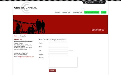 Screenshot of Contact Page cinemacapitalindia.com - Contact Us | Cinema Capital - captured July 31, 2017