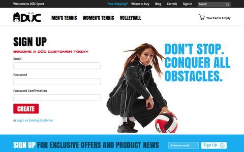 Screenshot of Signup Page ducsport.com captured Oct. 5, 2014