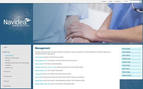 Screenshot of Team Page navidea.com - Navidea Management - captured Feb. 21, 2016