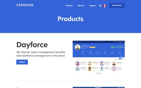 Screenshot of Products Page ceridian.com - Dayforce | Cloud HCM Software | Powerpay | Payroll | Ceridian - captured June 20, 2018