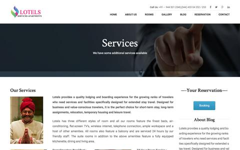 Screenshot of Services Page lotels.net - Services for hotel lotels serviced apartments in velachery - captured Sept. 10, 2017