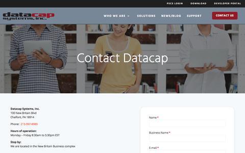 Screenshot of Contact Page datacapsystems.com - Contact us - Datacap Systems, Inc. - captured Dec. 9, 2019