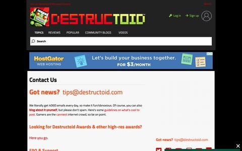 Screenshot of Contact Page destructoid.com - Today in Community:  #Tuesday,-March-19th-2019 - captured March 19, 2019