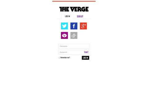 Screenshot of Login Page theverge.com - The Verge Login - captured Oct. 29, 2014