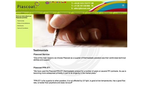Screenshot of Testimonials Page plascoat.com - Testimonials - captured Oct. 3, 2014