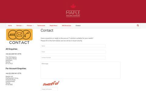 Screenshot of Contact Page maplecom.co.uk - Contact   Maplecom - captured Oct. 16, 2018