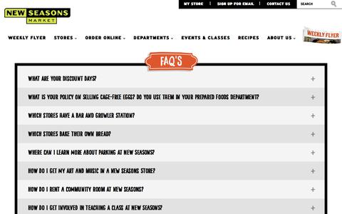 Screenshot of FAQ Page newseasonsmarket.com - FAQ Archive | New Seasons Market - captured July 12, 2018