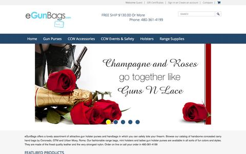 Screenshot of Home Page egunbags.com - Gun Purses, Concealed Carry Purses and Gun Holster Purses. Concealed Carry Designer Handbags. Gun Holster Handbags and Locking Conceal Carry Pockets. Men and Women Concealed Cary Gun Purses and CCW accesories - captured Feb. 13, 2016