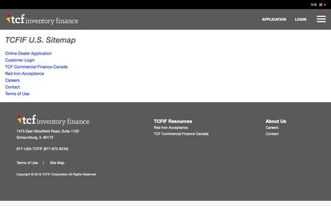 Screenshot of Site Map Page tcfif.com - TCF Inventory Finance U.S.   Site Map - captured Oct. 18, 2018