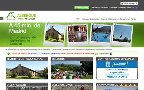 Screenshot of Home Page albergue-valle.com - Albergue Valle Abedules Bustarviejo Madrid Campamentos de Verano Madrid - Campamentos Verano Madrid 2014 - Albergue Madrid Actividades colegios Madrid Campamentos Madrid Sierra Norte - captured Oct. 17, 2015