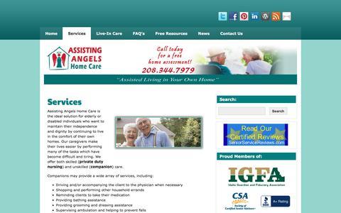 Screenshot of Services Page assistingangels.biz - Companion care home care - Boise | - captured Nov. 21, 2016