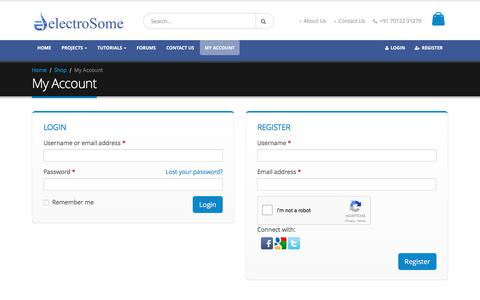 Screenshot of Signup Page Login Page electrosome.com - My Account - captured May 23, 2017