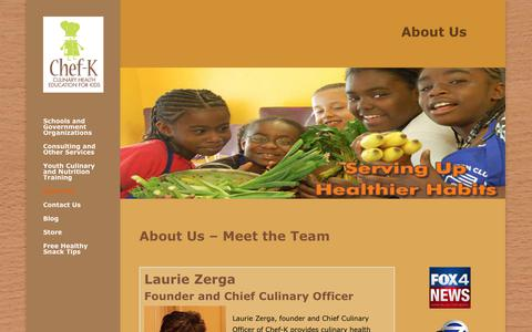 Screenshot of About Page chef-k.com - About Us - Meet the Team - Meet Chef-K Founder Laurie Zerga - Chef-K - captured Sept. 27, 2018