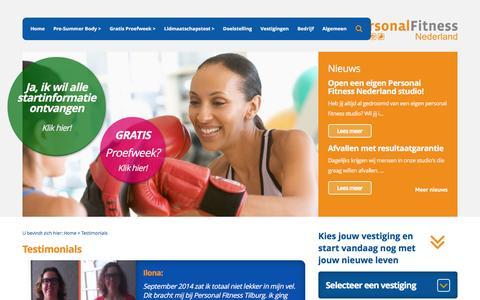 Screenshot of Testimonials Page personalfitnessnederland.nl - Personal Fitness Nederland - Testimonials - captured May 16, 2017
