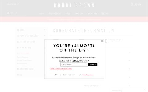 Screenshot of Privacy Page Jobs Page Terms Page bobbibrown.co.uk - Customer Service - Corporate | BobbiBrown.co.uk - captured July 9, 2019