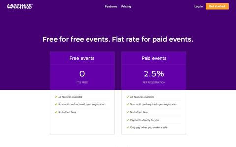 Screenshot of Pricing Page weemss.com - Pricing | Weemss Event Registration Software - captured Feb. 17, 2016