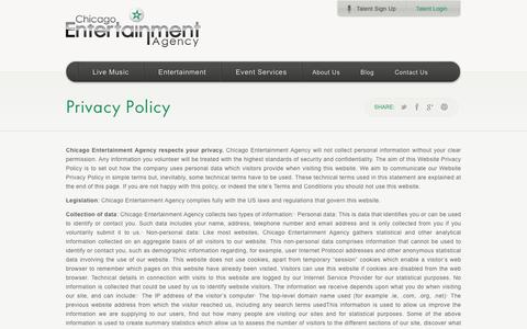 Screenshot of Privacy Page chicagoentertainmentagency.com - Privacy Policy | Talent Resource | Chicago Entertainment Agency - captured July 17, 2018