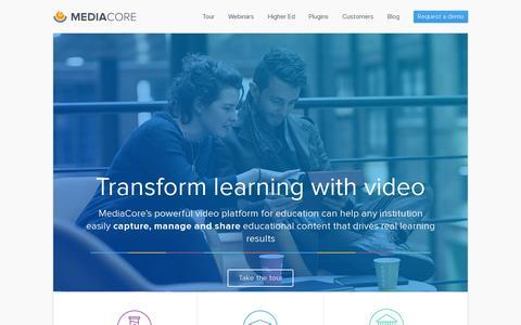 Screenshot of Home Page mediacore.com - MediaCore - Award-winning video platform for education - captured July 11, 2014
