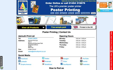 Screenshot of Contact Page posterprinting.org.uk - Poster Printing | Quality, cheap posters in a range of sizes - captured Oct. 8, 2014
