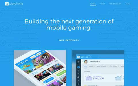 Screenshot of Home Page playphone.com - PlayPhone's Social Gaming Network - captured Nov. 7, 2019