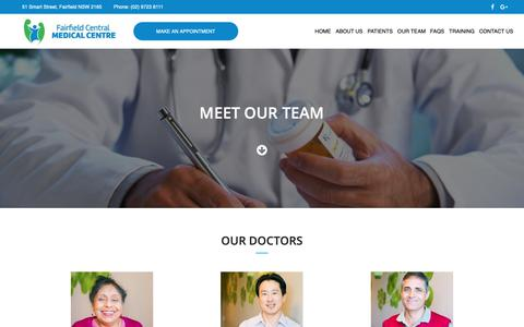 Screenshot of Team Page fairfieldcentralmedical.com.au - Our Team | Fairfield Central Medical Centre - captured Oct. 10, 2018