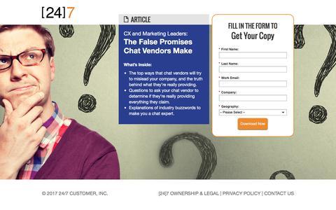 Screenshot of Landing Page 247-inc.com - 5 False Promises Chat Vendors Make - captured Jan. 17, 2017