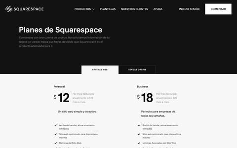 Screenshot of Pricing Page squarespace.com - Planes de Squarespace – Squarespace - captured Feb. 11, 2019
