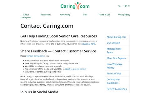 Screenshot of Contact Page caring.com - Contact Caring.com - captured Feb. 21, 2019