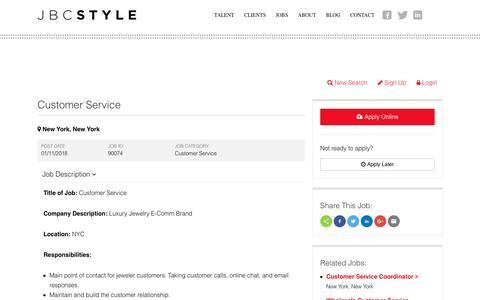 Screenshot of Support Page jbcstyle.com - Customer Service Jobs in New York New York   Customer Service Job Recruiters - captured Jan. 16, 2018