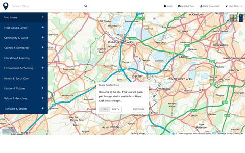 Screenshot of Maps & Directions Page runnymede.gov.uk - Maps - Runnymede Borough Council - captured Oct. 19, 2018