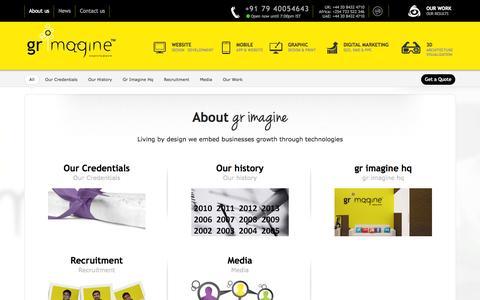 Screenshot of About Page grimagine.com - About Us | GR Imagine™ - captured Sept. 23, 2014