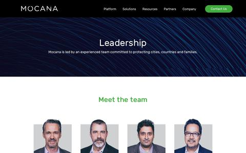 Screenshot of Team Page mocana.com - Mocana Leadership | Committed to Protecting Countries, Communities and Families. - captured July 12, 2018