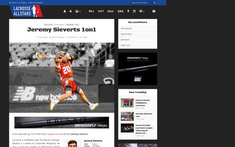 Screenshot of laxallstars.com - Jeremy Sieverts 1on1 - Lacrosse All Stars - captured July 12, 2016
