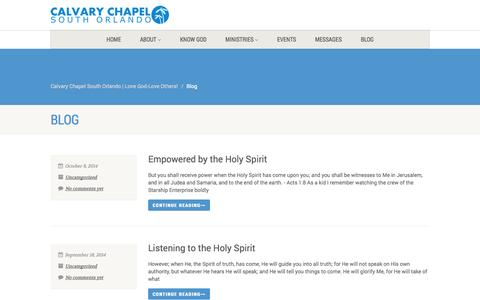 Screenshot of Blog calvaryso.com - Blog | Calvary Chapel South Orlando | Love God-Love Others! - captured Nov. 1, 2014