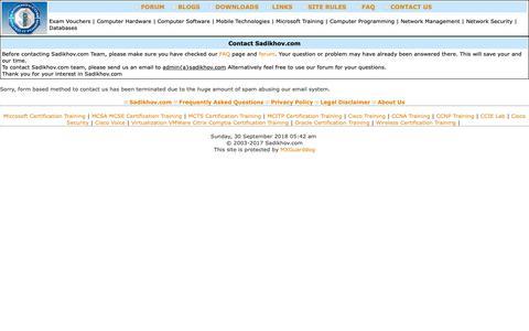 Screenshot of Contact Page sadikhov.com - IT Certification Forum on Sadikhov.com, Certification Exams, MCITP, MCTS, CCNA, CCNP, CCIE - captured Sept. 29, 2018