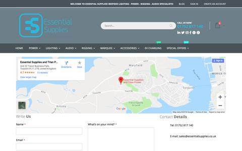 Screenshot of Contact Page essentialsupplies.co.uk - Contact Us - captured Dec. 8, 2018